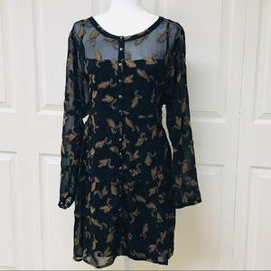 Wrap London - Boho - Black with Gold Print Dress